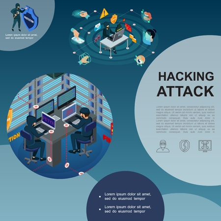 Isometric hackers attack template with data center hacking digital signature Illustration