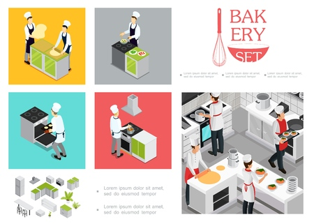 Isometric restaurant cooking infographic template with chefs in uniform preparing different dishes kitchen interior elements utensil vector illustration 일러스트