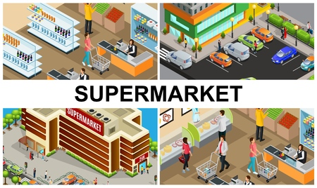 Isometric supermarket colorful composition with people buying products in store hall