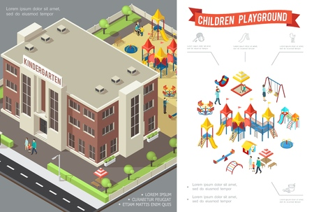 Isometric children playground concept with kindergarten building slides swings sandbox playhouse sandbox kids and parents vector illustration Illustration