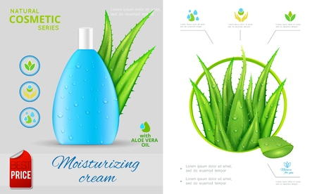 Realistic natural cosmetic concept with aloe vera plant and bottle of moisturizing cream vector illustration