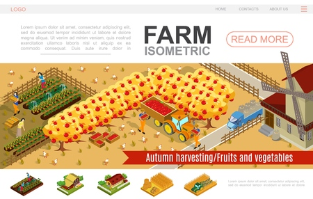 Isometric farming website template with people harvesting vegetables apples windmill tractor truck bales of hay wheat field chickens pigs vector illustration