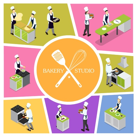 Isometric professional cooking composition with chefs and assistants preparing meals and serving vegetables Illustration