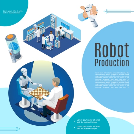 Isometric artificial intelligence concept with scientist playing chess with robot digital brain robotic arm cyborg production laboratory