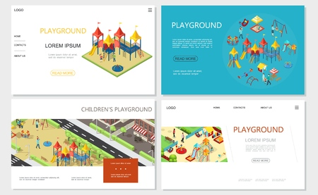 Isometric kids playground websites with slides swings recreational park sandbox playhouse see saw benches Illustration
