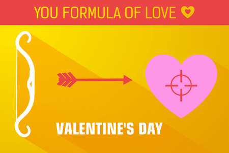 Yellow valentines day background design concept with arrow aims at heart of how target vector illustration