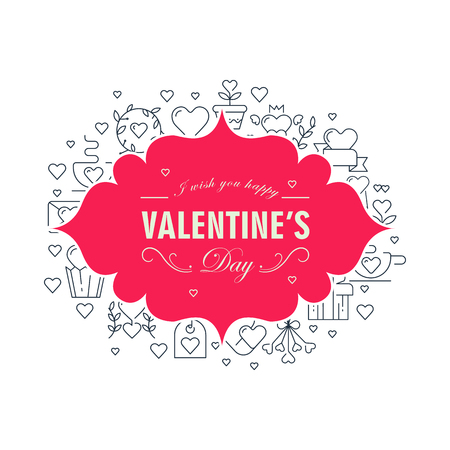 Valentines day decorative card with wishes be happy and many icons such as heart, twig, envelope on the white background vector illustration Illustration