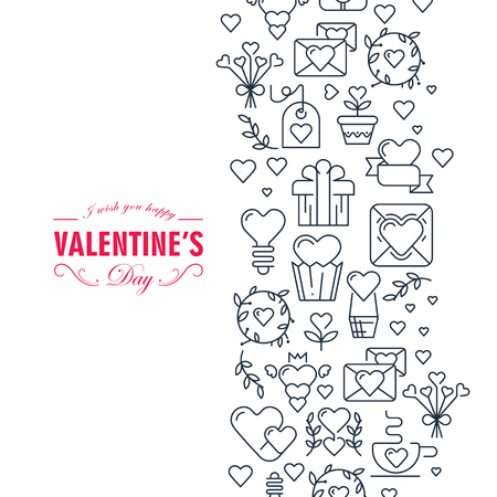 Happy valentines day decorative card with wishes be happy and many symbols