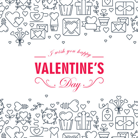 Monochrome valentines day decorative card with many love elements such as gift, arrows, heart, envelope on white background vector illustration