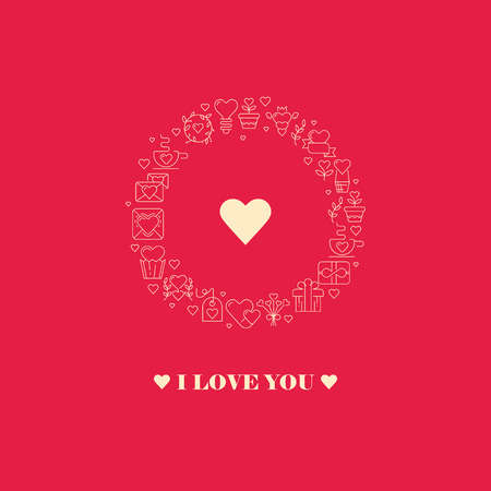 Declaration of love poster with three words, big heart in the centre of the round frame consisting of beautiful images on the red background vector illustration