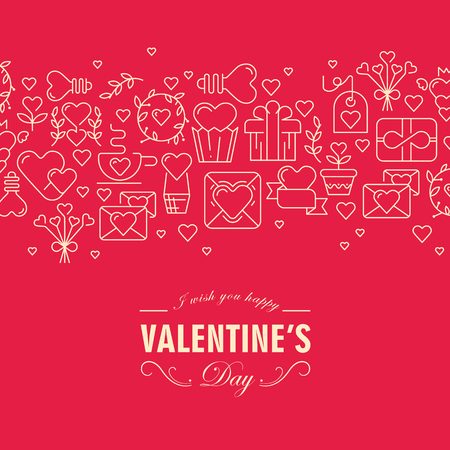 Happy valentines day decorative card with different symbols  such as heart, ribbon, envelope and wishes be happy on this day on the red background vector illustration Stock Illustratie