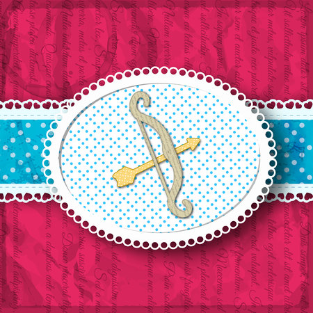 Dark pink background with bow and arrow on ribbon composition in bright style vector illustration