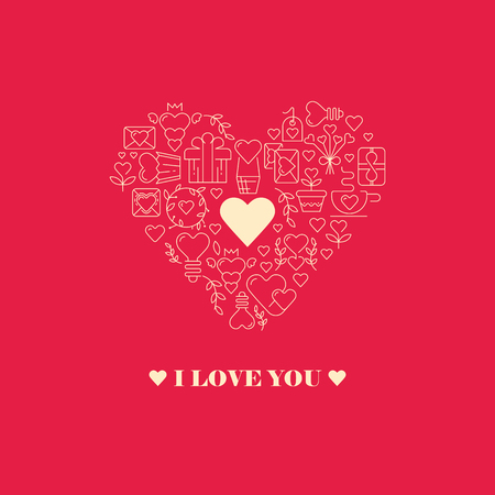 Declaration of love poster with three words, small white heart in the centre of the big heart frame consisting of beautiful images on the red background vector illustration