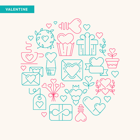 Happy valentines day typography design postcard with different kind of gifts and toys hand drawing by the green and rose colors vector illustration
