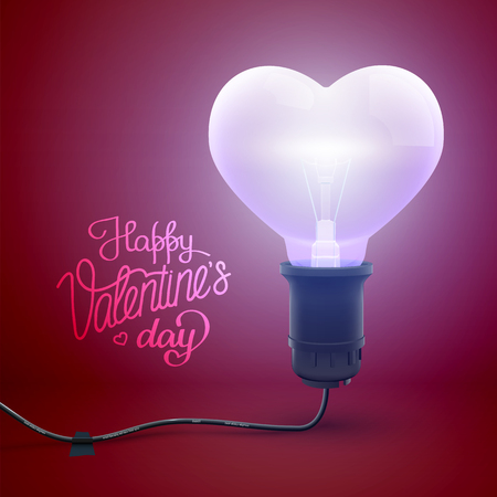 Light romantic poster with calligraphic inscription and realistic glowing wired electric bulb in heart shape vector illustration