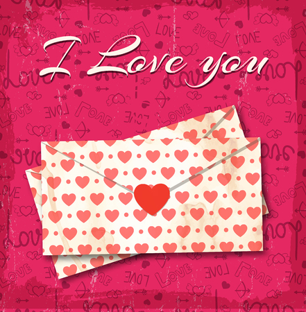 I love you concept with pink heart print on love letter and i love you headline on pink background Imagens - 116810027
