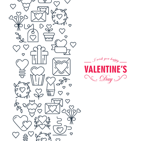 Happy valentines day decorative doodle card with wishes be happy and many symbols white and black colored such as heart, ribbon, envelope on the white background vector illustration Illustration