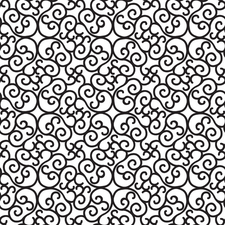 Abstract minimalistic seamless pattern with repeating ornate structure in monochrome style vector illustration
