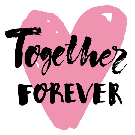 Romantic calligraphic light poster with Together Forever black handwritten inscription and pink heart vector illustration Vecteurs