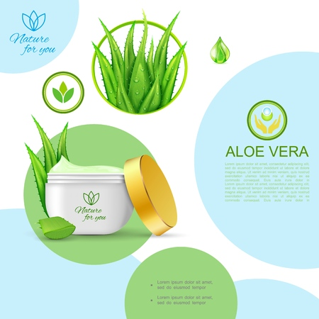 Realistic organic natural cosmetic template with package of skin care healthy cream and aloe vera plant vector illustration