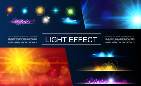 Realistic light elements concept with bright flares spots glittering sparkling and sunlight effects vector illustration