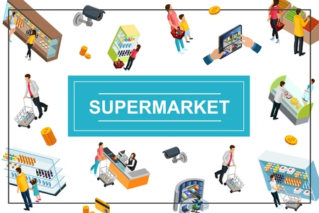 Isometric supermarket colorful concept with cashier seller customers with baskets and carts buying different products coins video surveillance cameras vector illustration