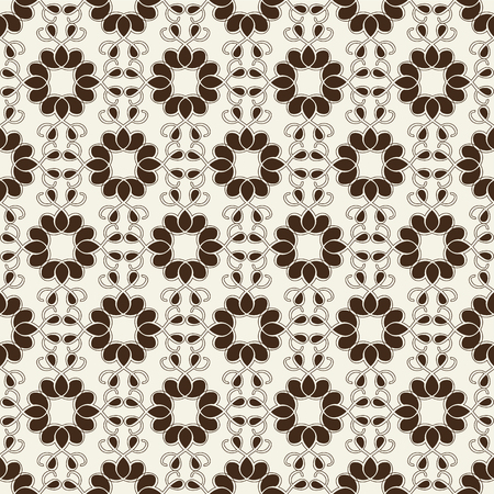Monochrome seamless pattern with mosaic geometrical ornament composed of petals and swirls flat vector Illustration