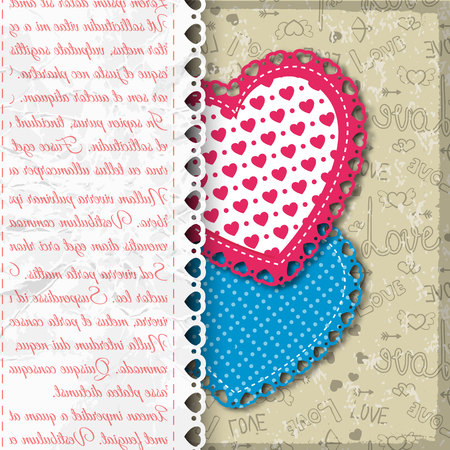Colored valentine s day background with two napkins with ruffles in heart form vector illustration