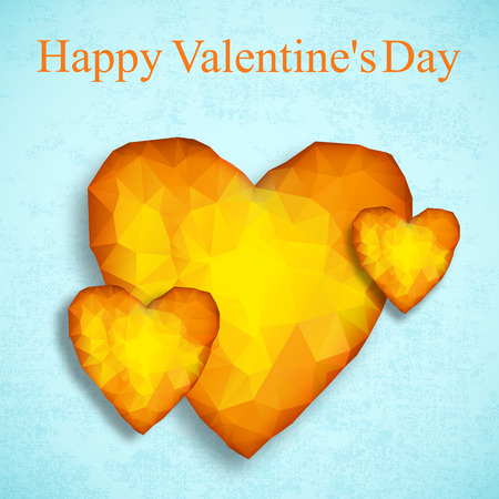 Happy valentines day card with three amber hearts on light blue background in romantic style vector illustration