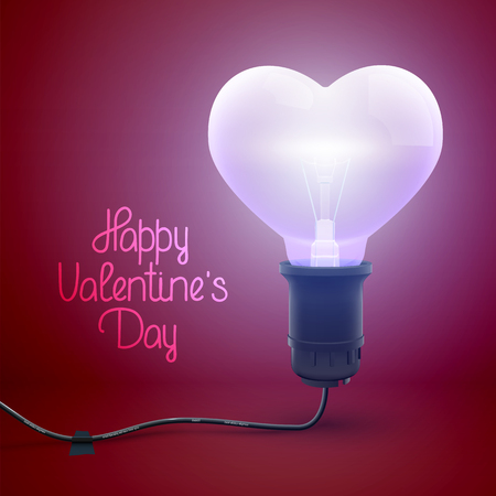 Happy Valentines Day poster with greeting inscription and realistic illuminated wired light bulb in heart shape vector illustration Banco de Imagens - 126238109