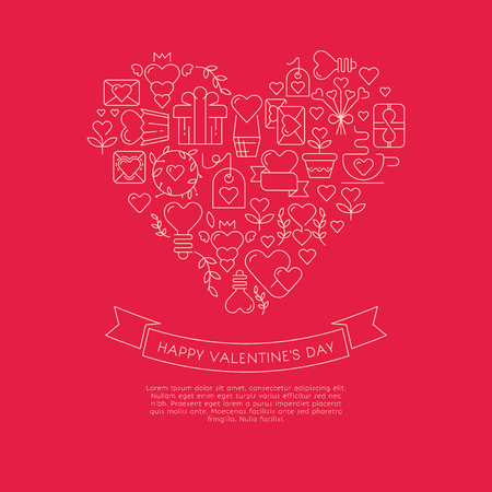 Red and white colored card with gigantic heart consisting of many similar envelopes, gifts, symbols and wishes with happy valentines day on the red background vector illustration Illustration