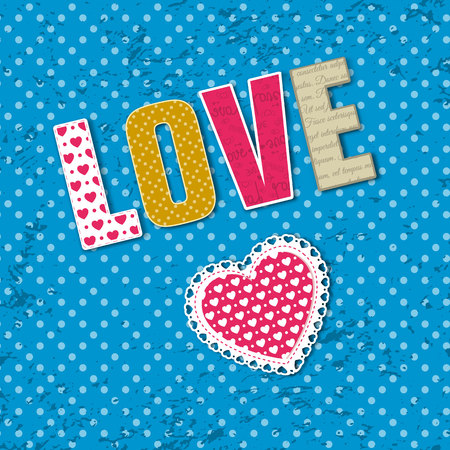 Word love is laid out against blue dotted background from different rags of fabric vector illustration Illustration