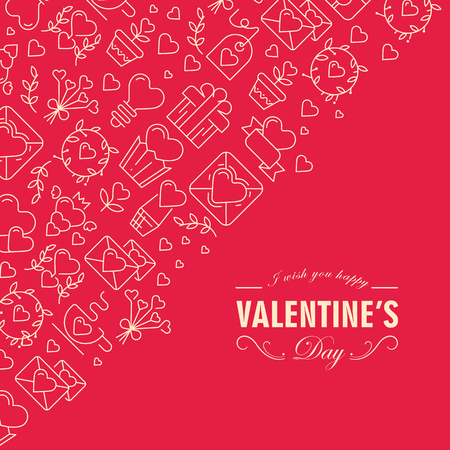 Happy valentines day postcard with text including wishes be happy and many icons such as heart twig gift on red background vector illustration