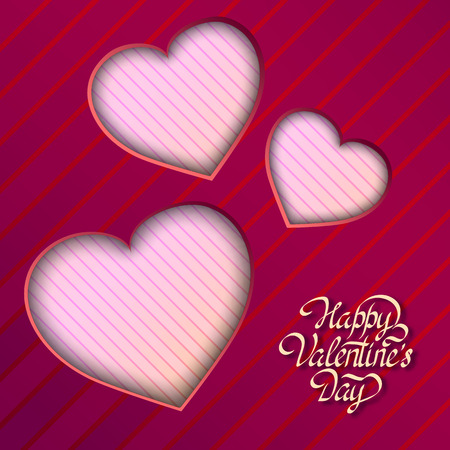 Amorous festive template with greeting inscription and cut out light hearts on striped background vector illustration Ilustração