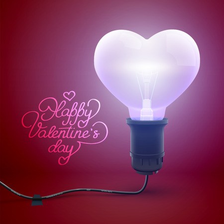 Festive Valentines Day template with calligraphic inscription and realistic glowing wired lightbulb in heart shape vector illustration