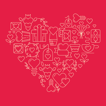 Love poster template in the gigantic heart with many beautiful images symbolizing valentines day hand drawing doodles elements on red background vector illustration
