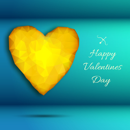 Stylish valentine day background with big yellow amber heart on light background with headline vector illustration 向量圖像