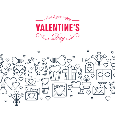 Happy valentines day decorative card with words about be happy and many monochrome symbols such as heart ribbon arrows on white background vector illustration