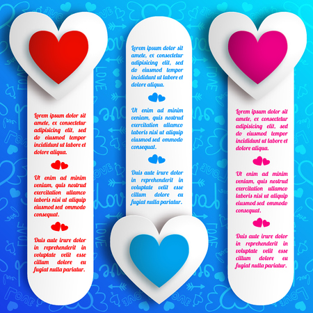 Lovely romantic vertical banners with text paper colorful hearts on blue icons pattern isolated vector illustration