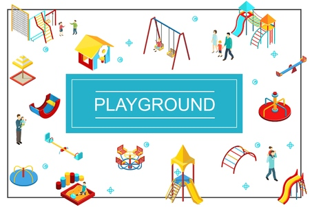 Isometric kids playground concept with seesaw swings playhouse sandbox slides colorful bars parents and children vector illustration