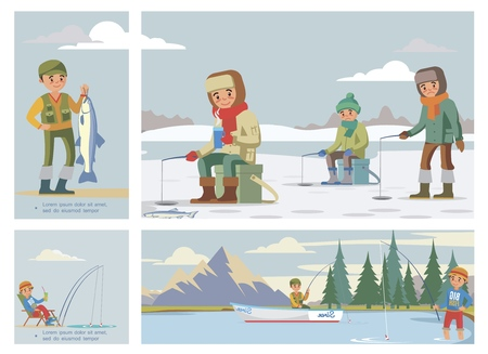 Flat colorful fishing hobby composition with fishermen catch fish in summer and winter vector illustration Çizim