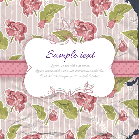 Vintage decorative greeting template with frame text dotted ribbon on flourish striped pattern vector illustration