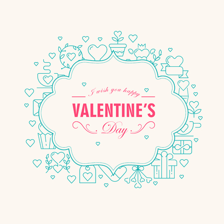 Valentines day decorative filigree card with wishes be happy and many icons such as heart, twig, gift on white background vector illustration