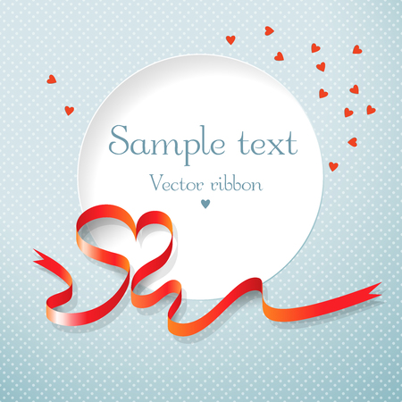Romantic valentines day postcard with round text field red ribbon and hearts on blue textural background flat vector illustration