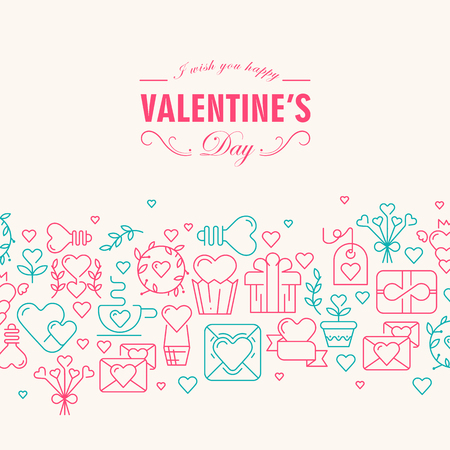 Happy valentines day decorative card with wishes be happy and many symbols rose and green  colored such as heart, ribbon, envelope on the white background vector illustration Stock Illustratie