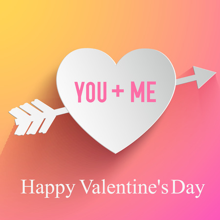 You and me composition for valentines day with heart pierced by arrow vector illustration Illustration