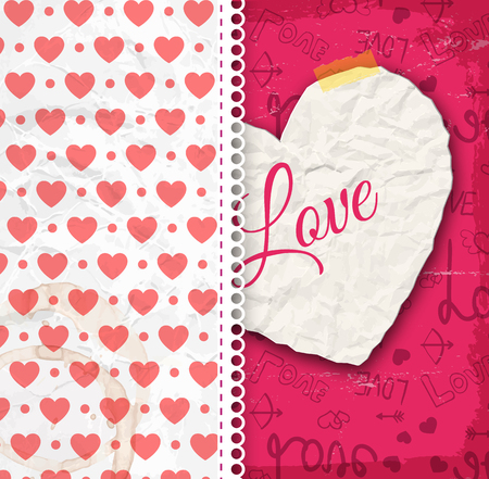 Valentine day design concept with crumpled paper heart and romantic seamless pattern vector illustration Illustration