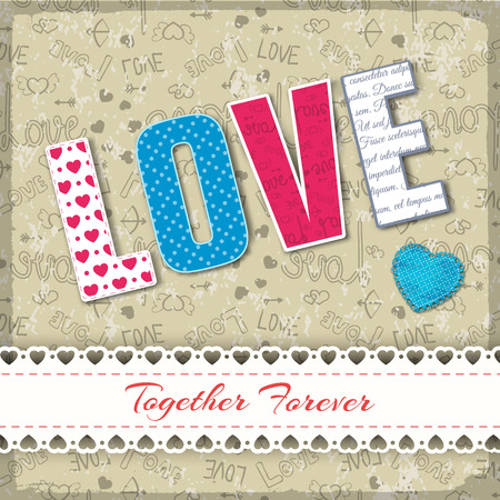 Valentines day textile composition with big letters combined in word love in different colors vector illustration