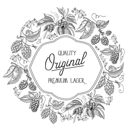 Original circle white filigree figured colorless frame design postcard with hop berries and foliage with inscription about quality original premium lager hand drawn doodle vector illustration. Illusztráció