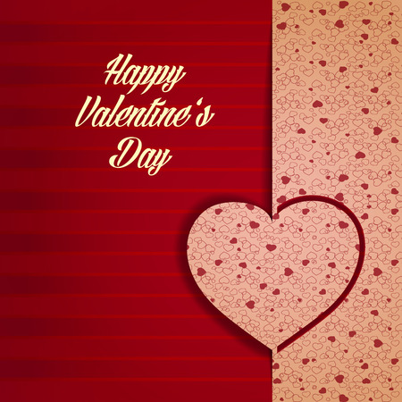 Amorous greeting poster with celebrating inscription striped ribbon and colorful hearts on textured background vector illustration